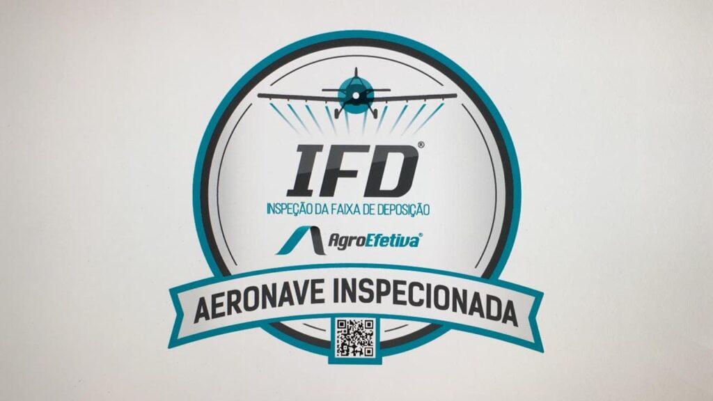 Imagem do selo presente nas aeronaves que já passaram pelo processo de Inspeção da Faixa de Deposição